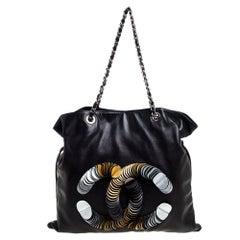 Chanel Black Leather Disc Bon Bon Bag