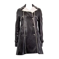 CHANEL black leather Double Breasted SHEARLING Peacoat Coat Jacket 38 S