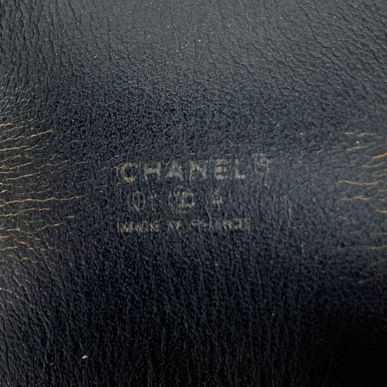 Chanel Black Leather Double Buckle Coco Adjustable Cuff Bracelet In Excellent Condition For Sale In Rome, Rome