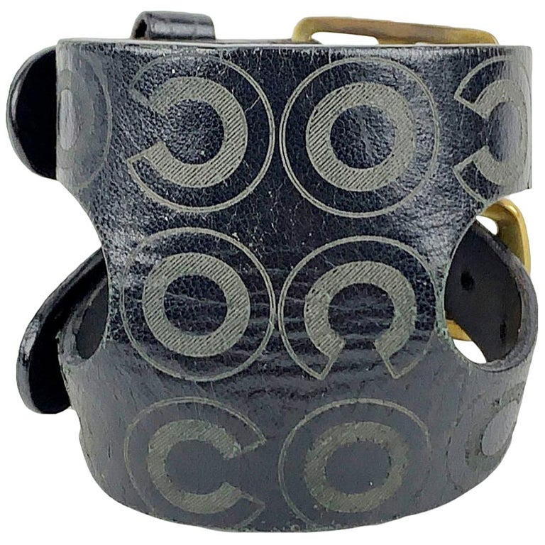 Chanel Black Leather Double Buckle Coco Adjustable Cuff Bracelet For Sale