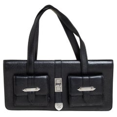 Chanel Black Leather Double Pocket Satchel