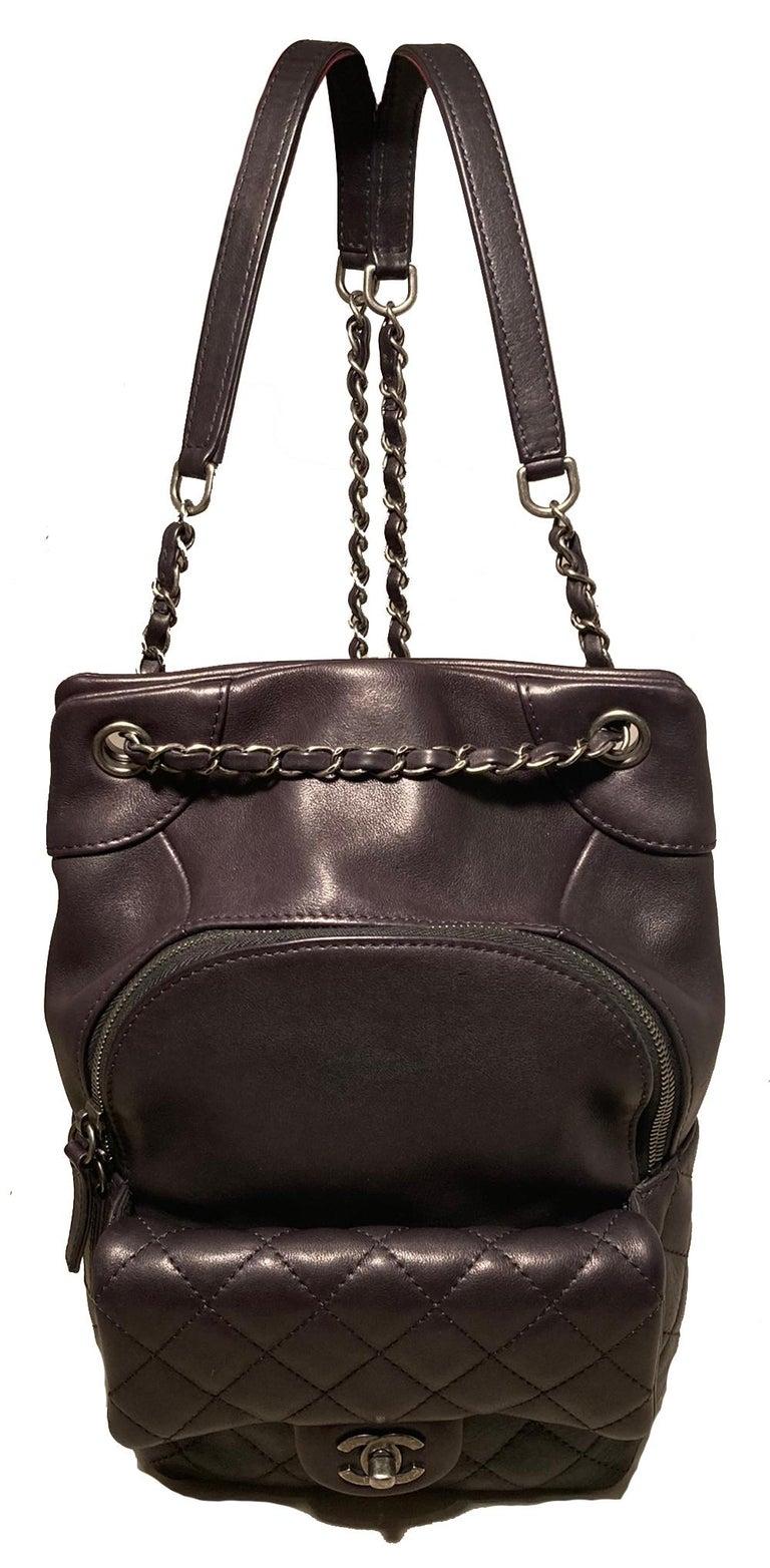 Chanel Black Leather Drawstring Backpack For Sale 1