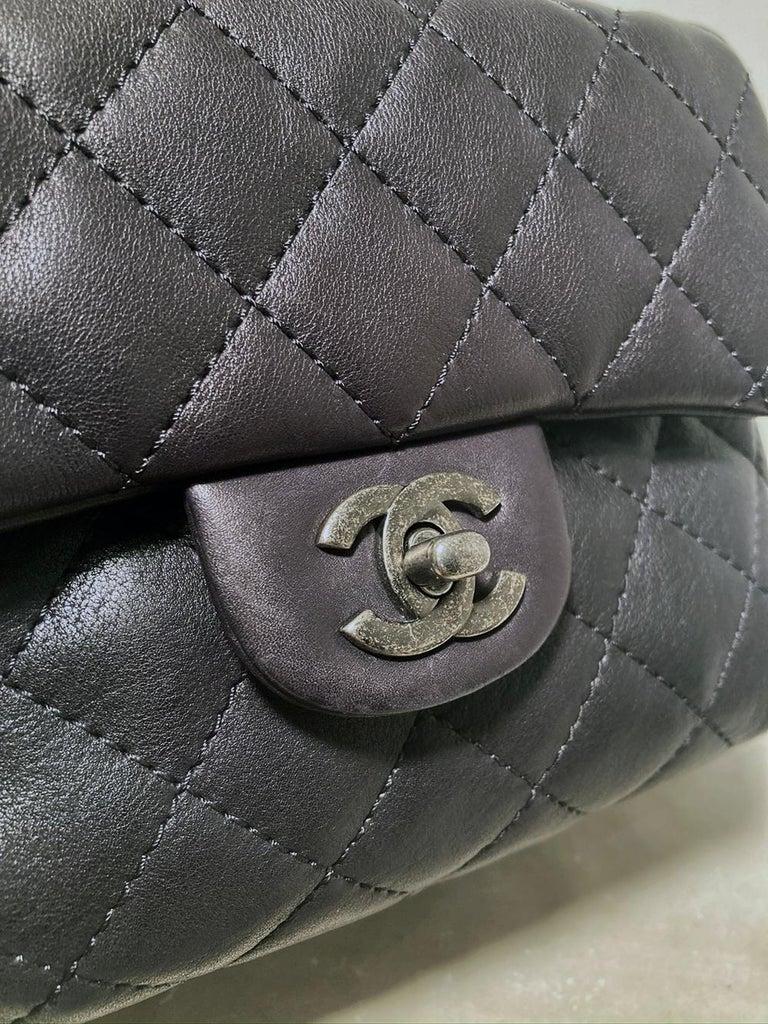 Chanel Black Leather Drawstring Backpack For Sale 2