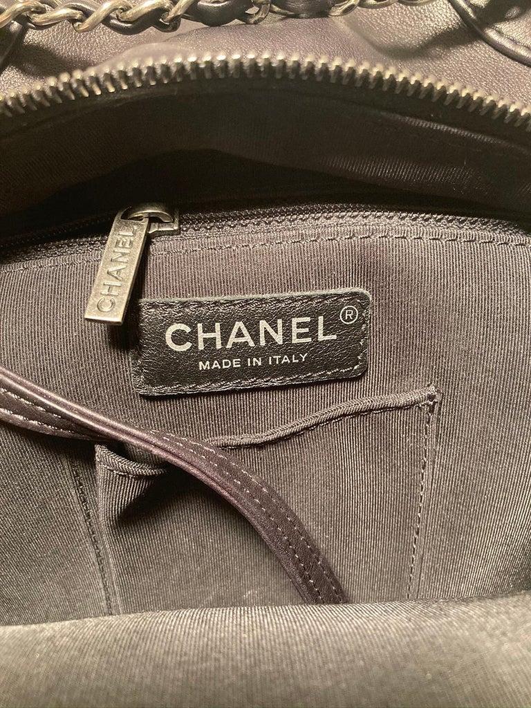 Chanel Black Leather Drawstring Backpack For Sale 4
