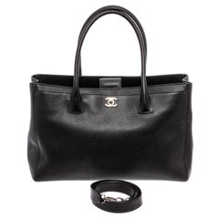 Chanel Black Leather Executive Cerf Tote w/Strap Bag