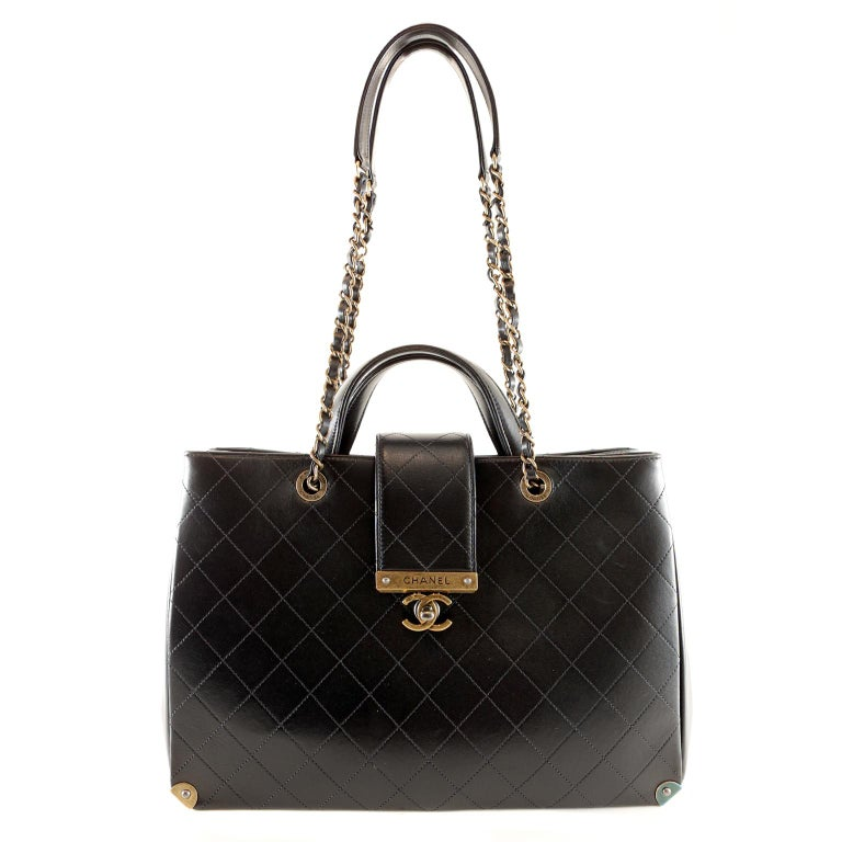 Chanel Black Leather Executive Shopper For Sale 8