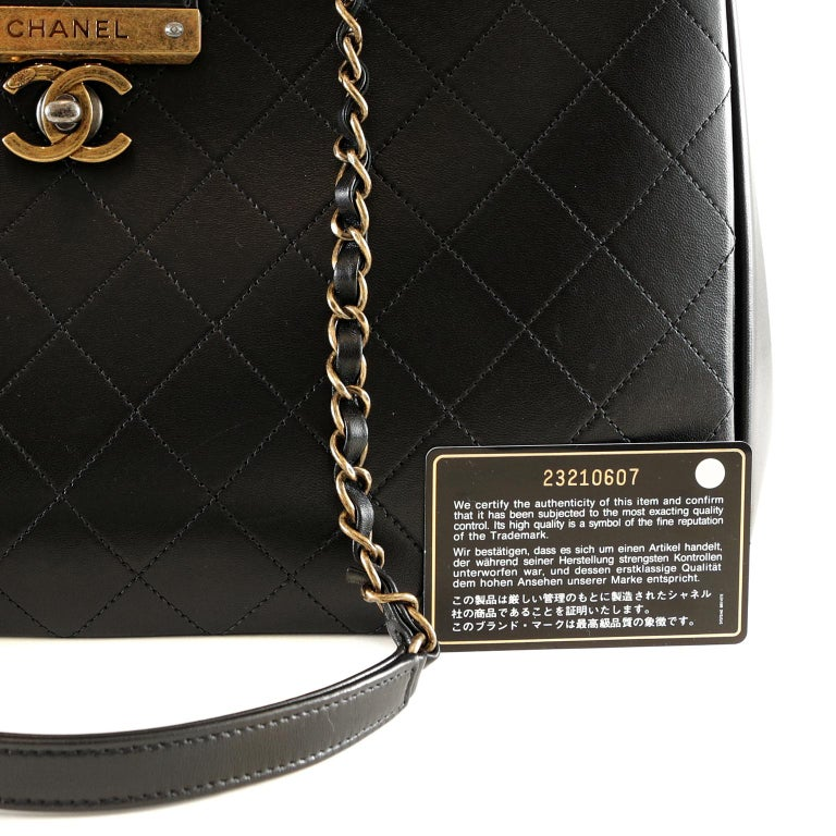 Chanel Black Leather Executive Shopper For Sale 9