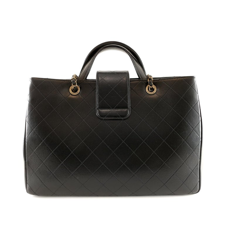 Women's Chanel Black Leather Executive Shopper For Sale