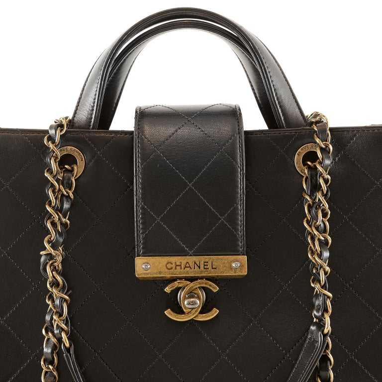 Chanel Black Leather Executive Shopper For Sale 2