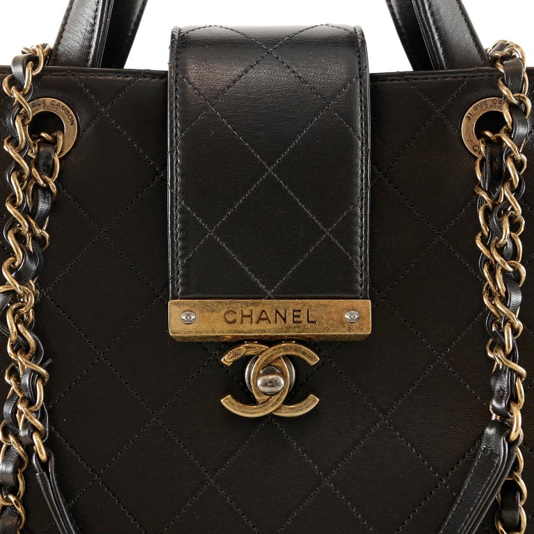 Chanel Black Leather Executive Shopper For Sale 3