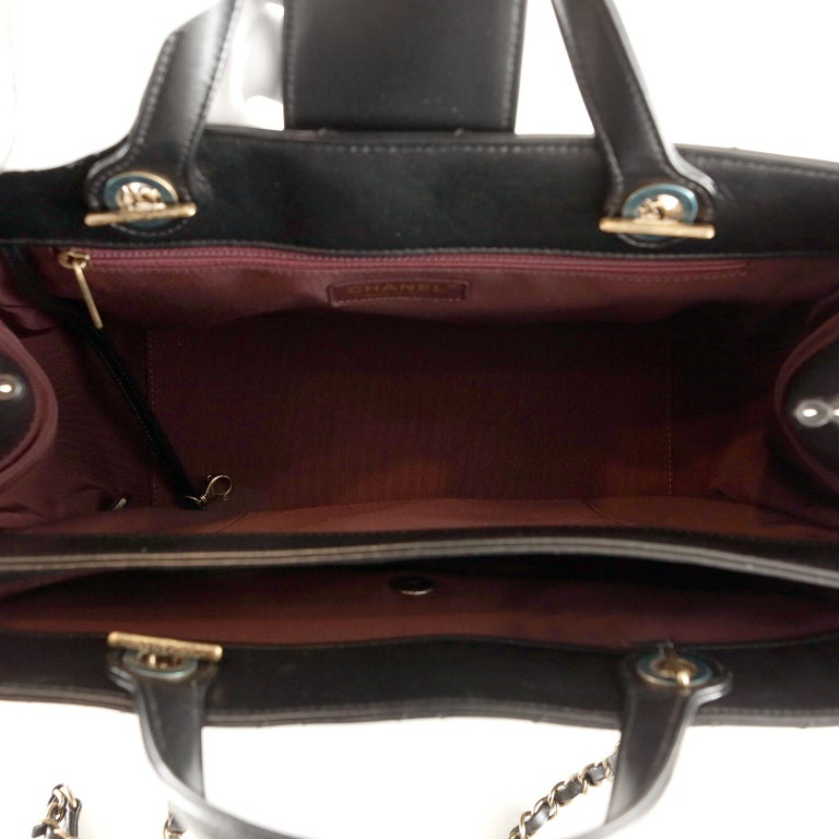 Chanel Black Leather Executive Shopper For Sale 4