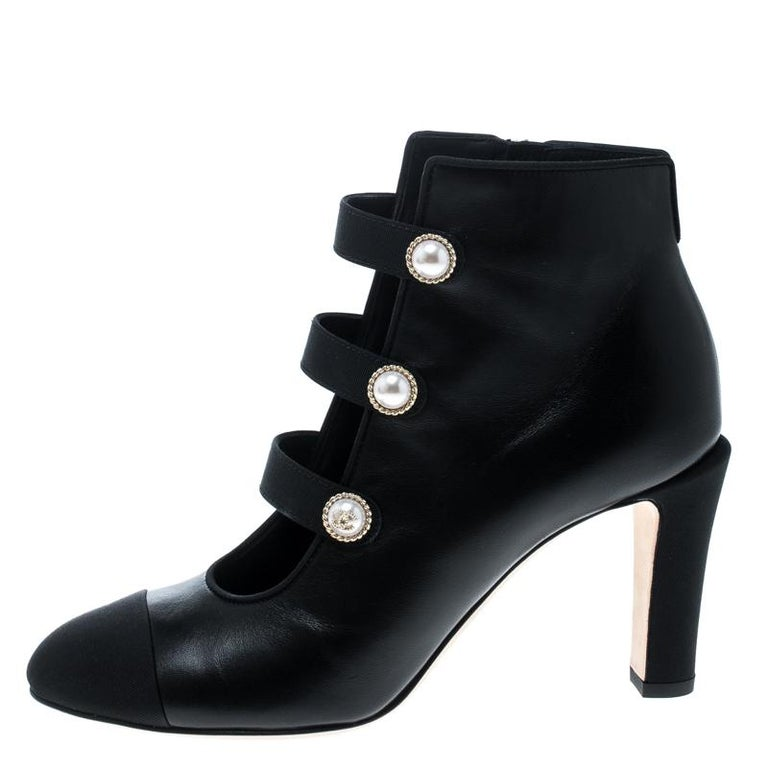 9946ed87925 Chanel Black Leather Faux Pearl CC Fabric Cap Toe Booties Size 37 For Sale