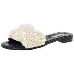 Chanel Black Leather Faux Pearl Slide Flat Sandals Size 39