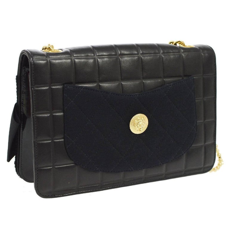 22e92bb6d3aa Chanel Black Leather Flower Bow Evening Clutch Pearl Chain Shoulder Flap  Bag Leather Tweed Pearl Gold