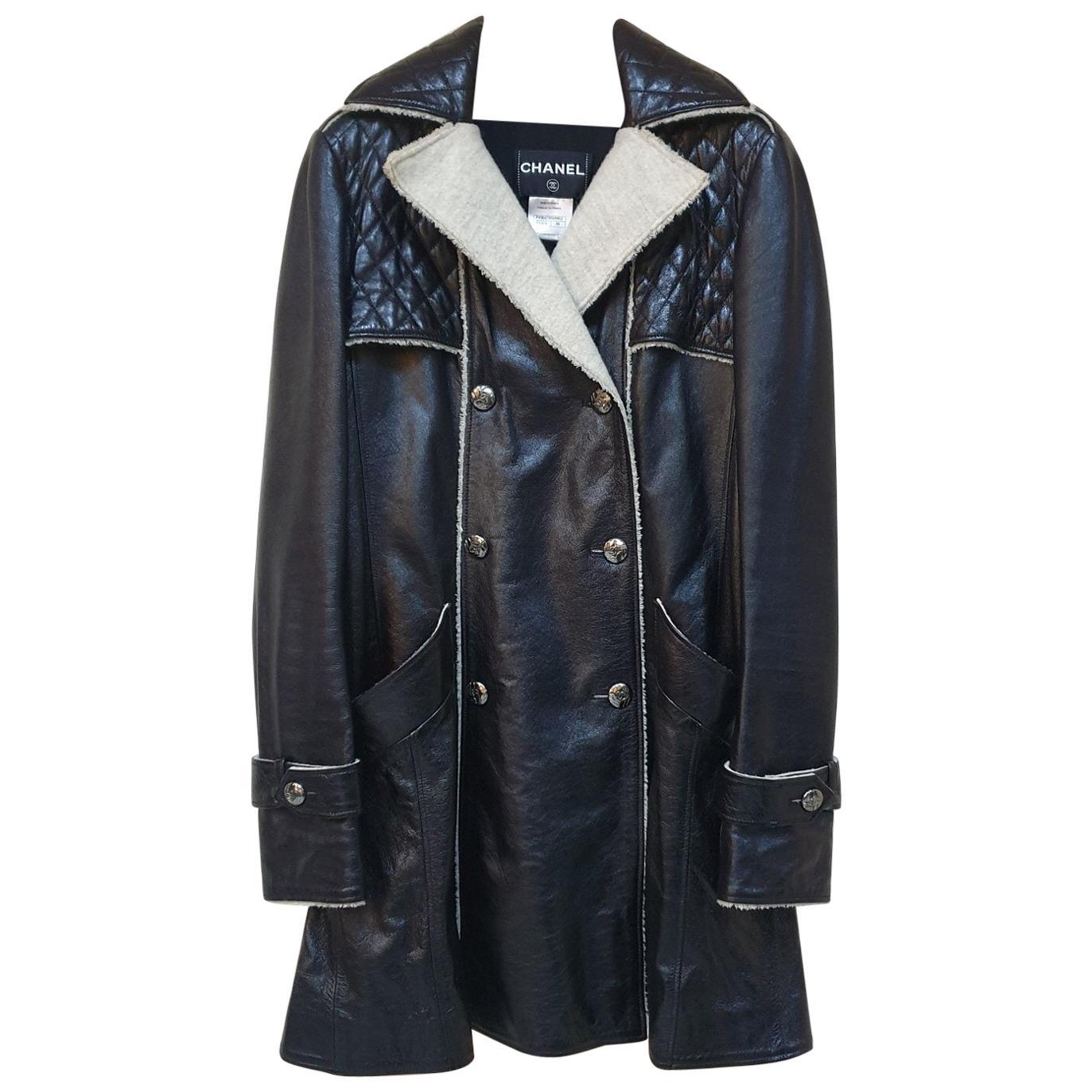 Chanel Black Leather Fur Coat