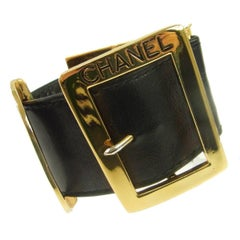 Chanel Black Leather Gold Buckle Evening Charm Cuff Bracelet in Box