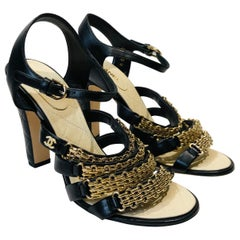 "Chanel Black Leather Gold Chain ""CC"" Faux Pearl Sandals Heels"