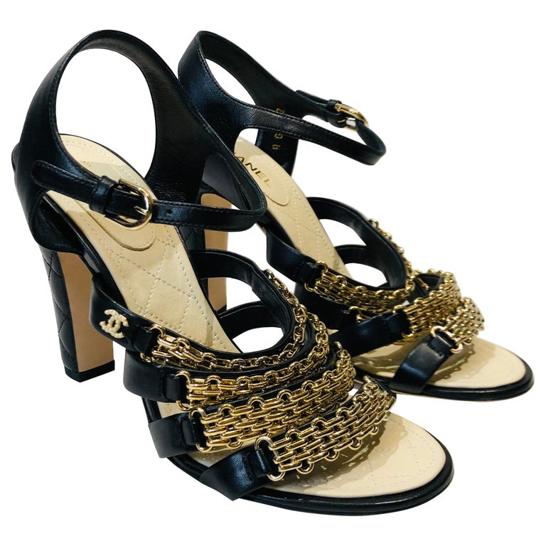 "Chanel Black Leather Gold Chain ""CC"" Faux Pearl Sandals Heels  For Sale"