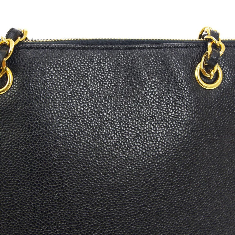 Chanel Black Leather Gold Chain Medium Travel Carryall Shopper Tote Shoulder Bag  Caviar leather Gold tone hardware Woven lining Date code present Made in Italy Shoulder strap 11