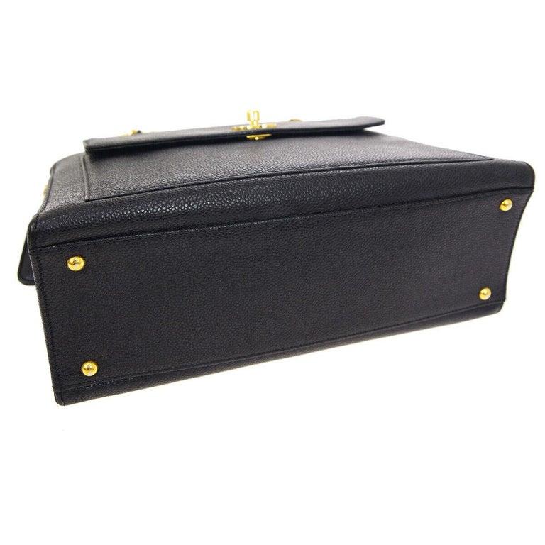 Chanel Black Leather Gold Chain Medium Carryall Shopper Tote Shoulder Bag For Sale 1
