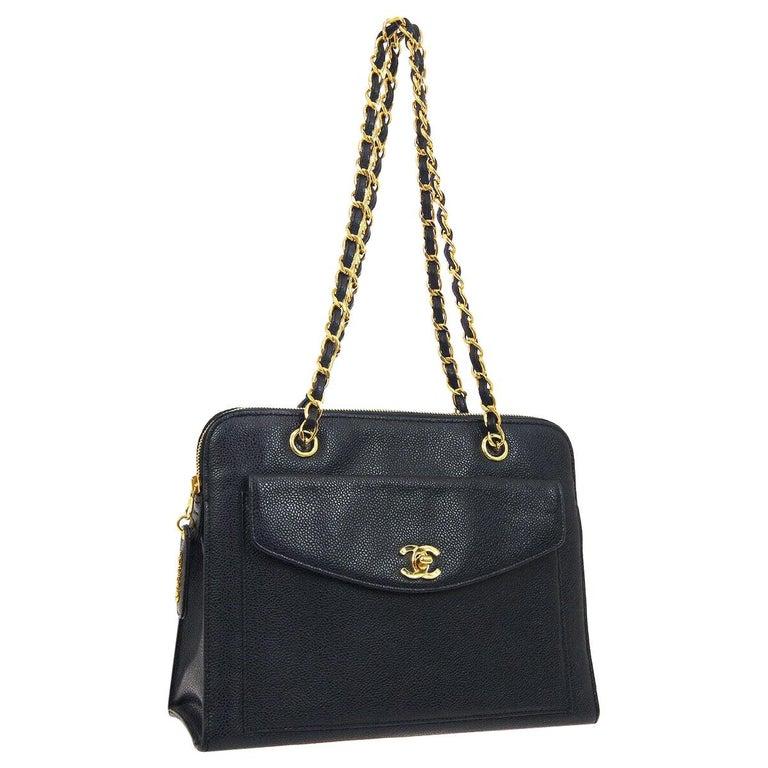 Chanel Black Leather Gold Chain Medium Carryall Shopper Tote Shoulder Bag For Sale