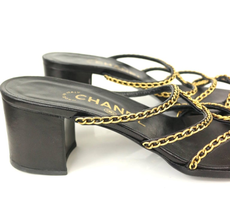 Chanel Black Leather Gold Chain Heeled Sandals   In Excellent Condition For Sale In Sheung Wan, HK