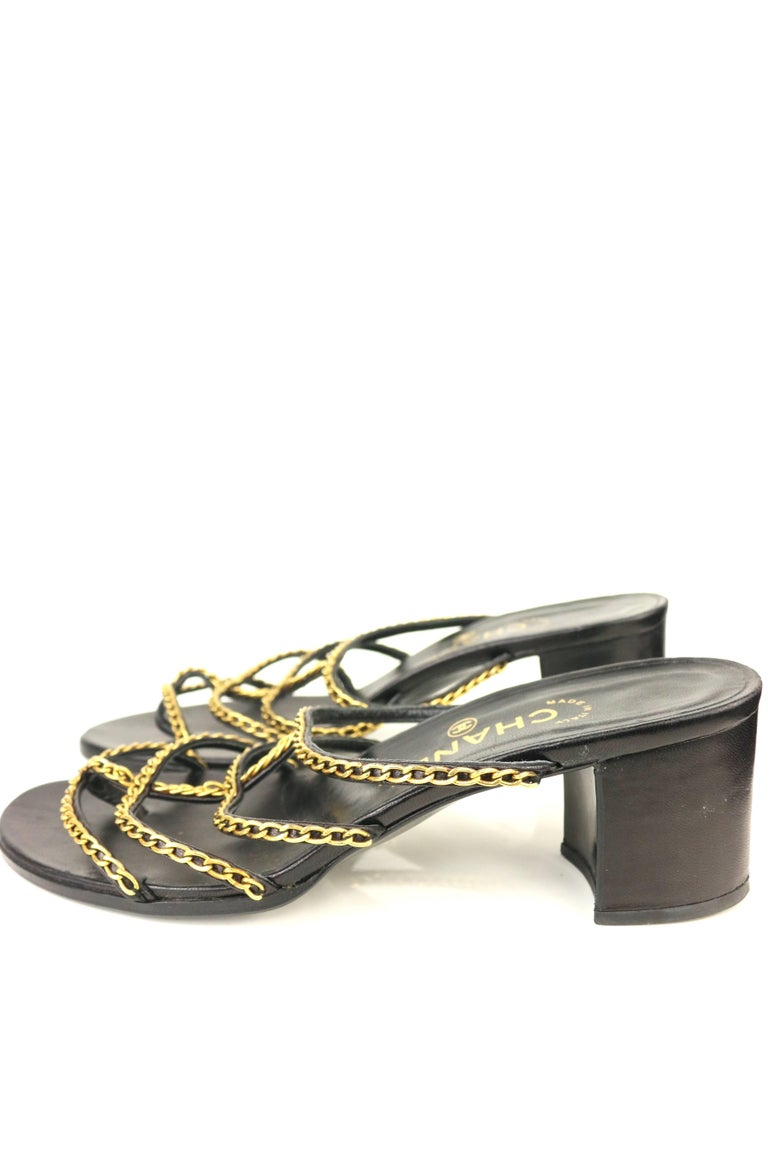 Chanel Black Leather Gold Chain Heeled Sandals   For Sale 2