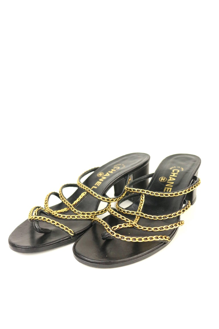 Chanel Black Leather Gold Chain Heeled Sandals   For Sale 3