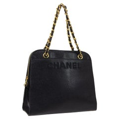 Chanel Black Leather Gold Chain Top Handle Satchel Shoulder Tote Bag