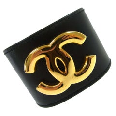 Chanel Black Leather Gold Charm Men's Women's Wide Cuff Bracelet in Box
