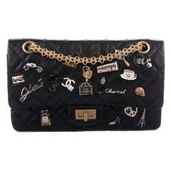 Chanel Black Leather Gold Charms Medium Evening Shoulder Flap Bag in Box
