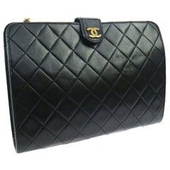 Chanel Black Leather Gold Envelope Evening Shoulder Crossbody Clutch Bag