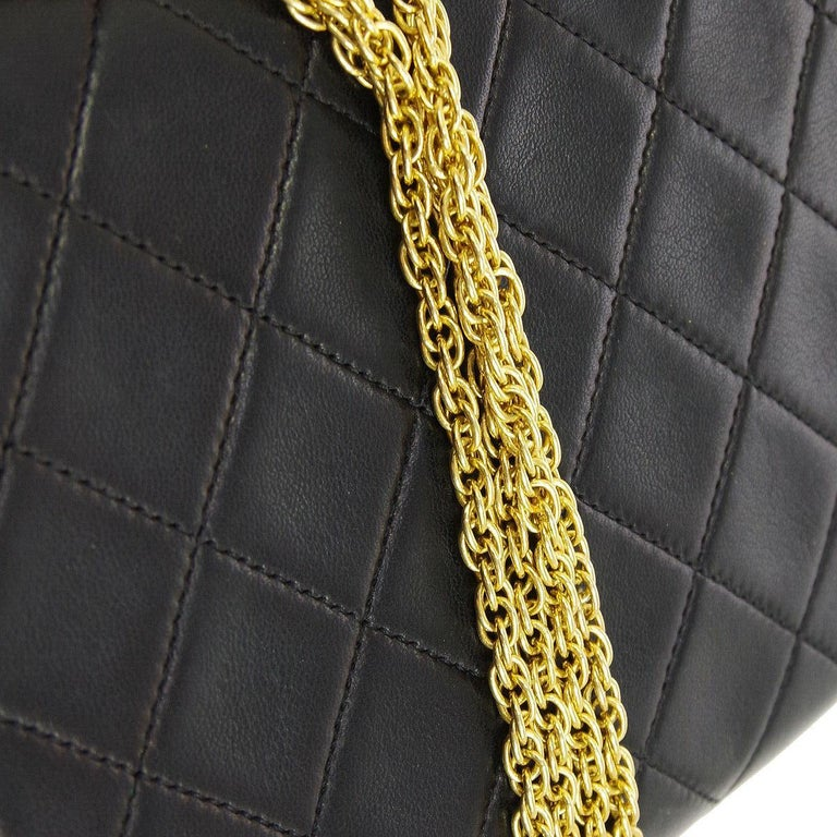 Women's Chanel Black Leather Gold Evening Chain Small Mini Evening Flap Bag For Sale