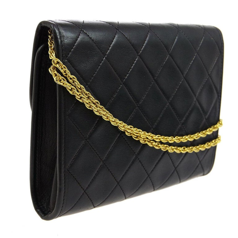 Chanel Black Leather Gold Evening Chain Small Mini Evening Flap Bag For Sale 1