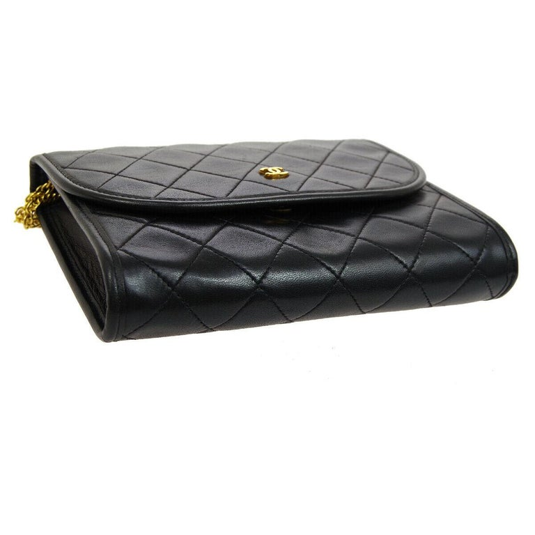 Chanel Black Leather Gold Evening Chain Small Mini Evening Flap Bag For Sale 2