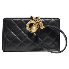 Chanel Black Leather Gold Evening Small Evening Top Handle Wristlet Bag in Box