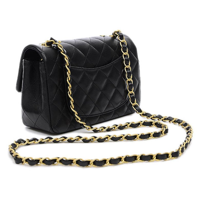 Chanel Black Leather Gold Gunmetal Charms Evening Shoulder Flap Bag In Excellent Condition For Sale In Chicago, IL