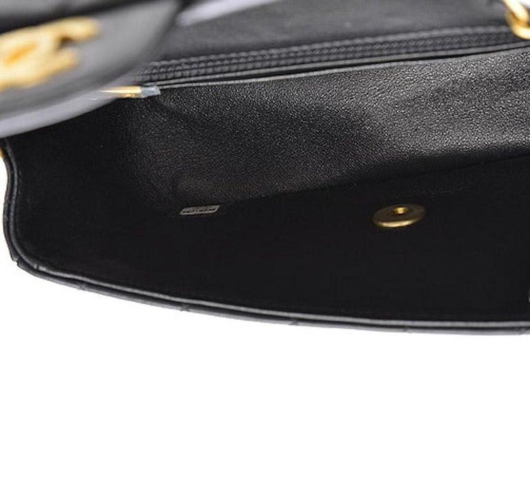 Chanel Black Leather Gold Gunmetal Charms Evening Shoulder Flap Bag For Sale 1