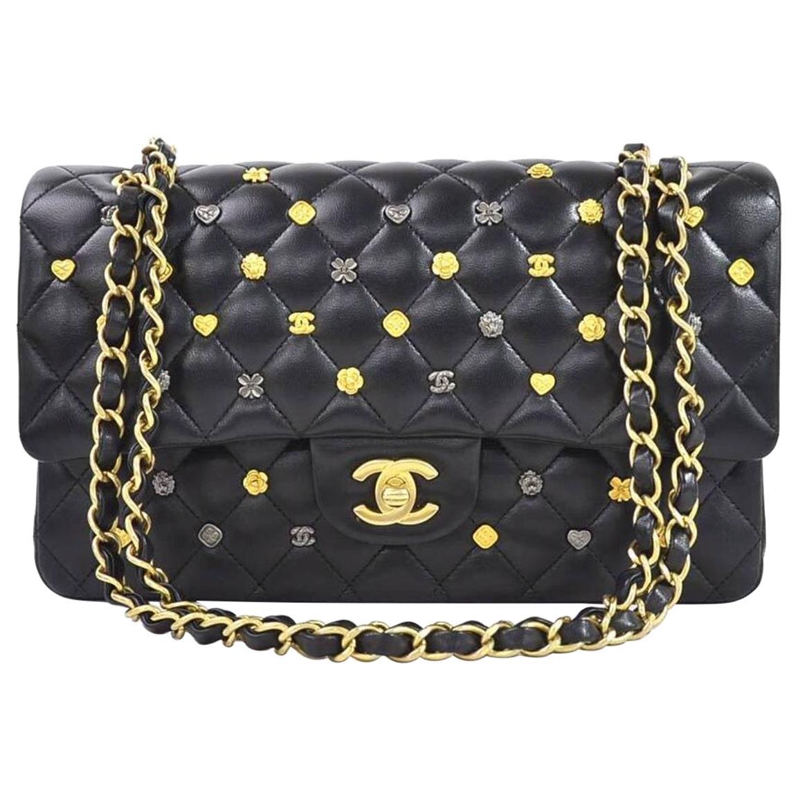 Chanel Black Leather Gold Gunmetal Charms Evening Shoulder Flap Bag