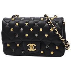 Chanel Black Leather Gold Gunmetal Charms Evening Shoulder Flap Bag