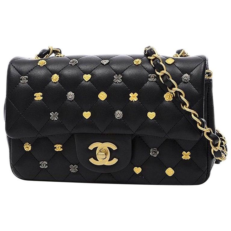 Chanel Black Leather Gold Gunmetal Charms Evening Shoulder Flap Bag For Sale