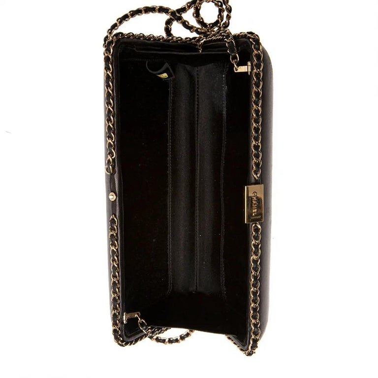 Chanel black leather gold hardware clutch - shoulder bag In Good Condition For Sale In Capri, IT