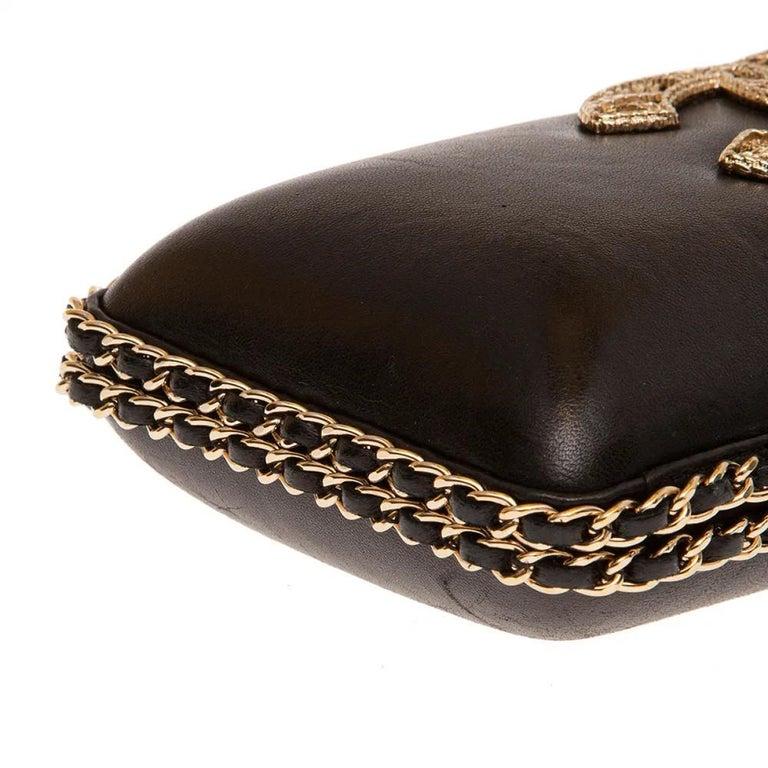 Chanel black leather gold hardware clutch - shoulder bag For Sale 2