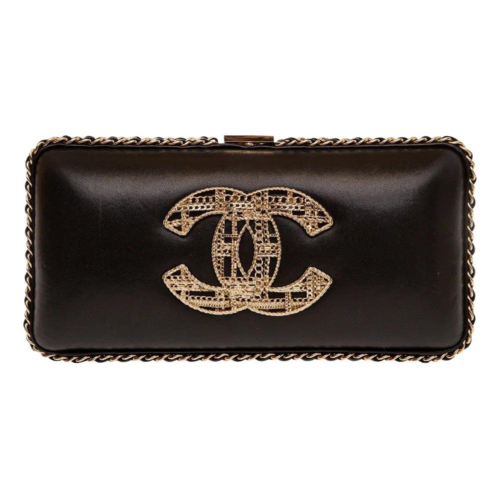 Chanel black leather gold hardware clutch - shoulder bag