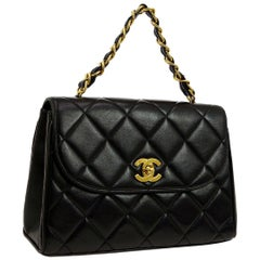 Chanel Black Leather Gold Kelly Style Top Handle Satchel Shoulder Flap Bag