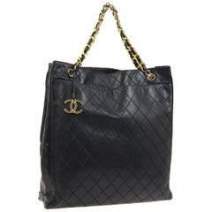 Chanel Black Leather Gold Large Carryall Travel Shopper Shoulder Tote Bag