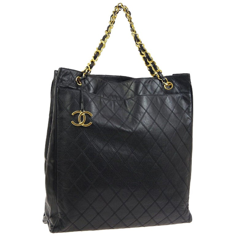 Chanel Black Leather Gold Large Carryall Travel Shopper Shoulder Tote Bag For Sale