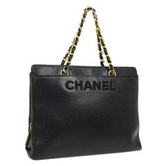 Chanel Black Leather Gold Large 'CHANEL' Travel Carryall Shoulder Bag in Box