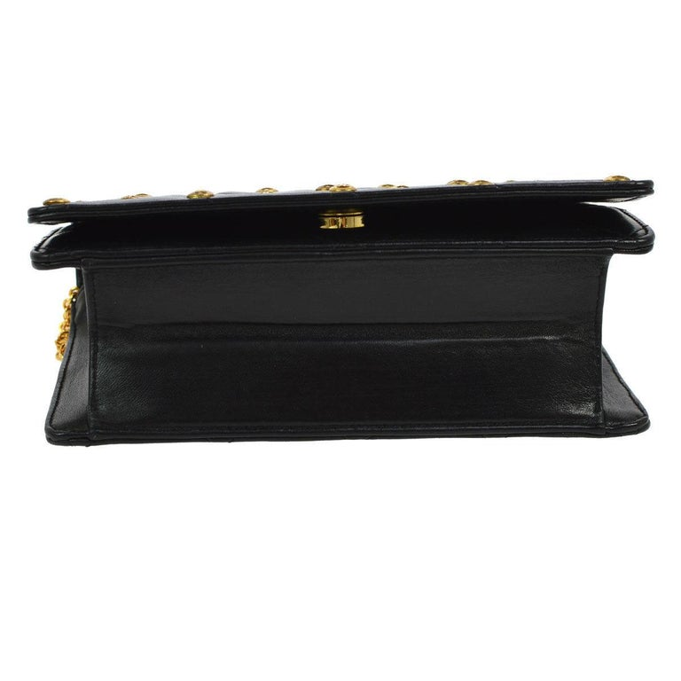 Women's Chanel Black Leather Gold Logo Coin Clutch Evening Small Party Shoulder Flap Bag For Sale