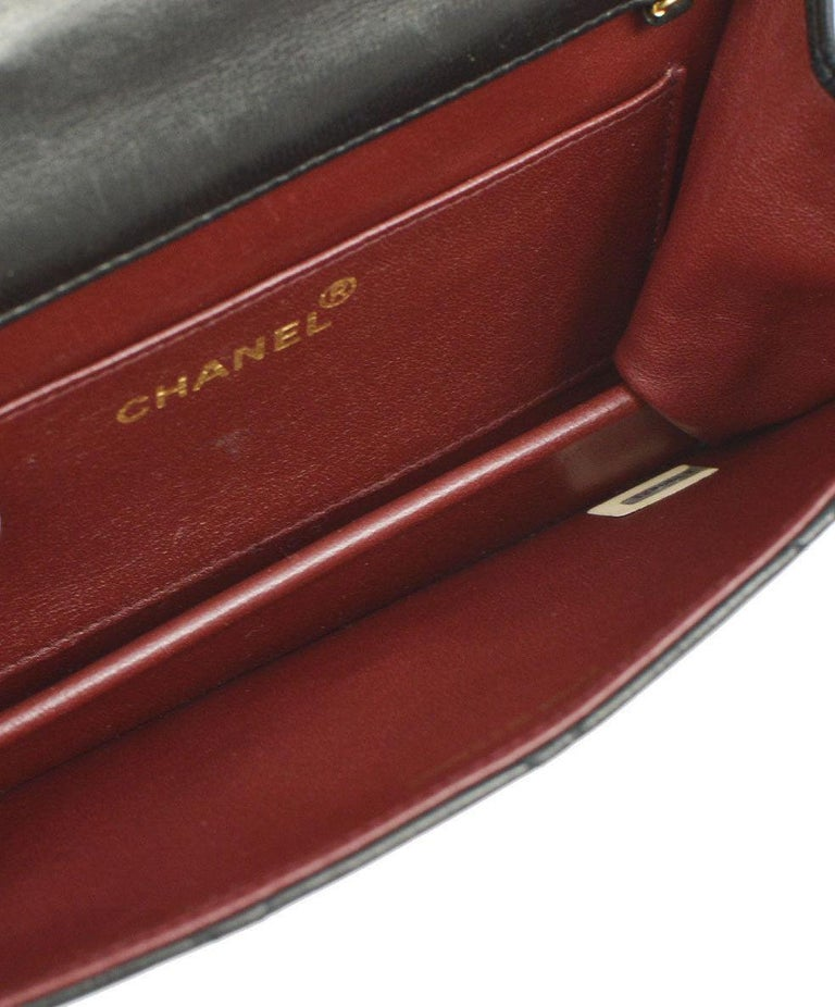 Chanel Black Leather Gold Logo Coin Clutch Evening Small Party Shoulder Flap Bag For Sale 2